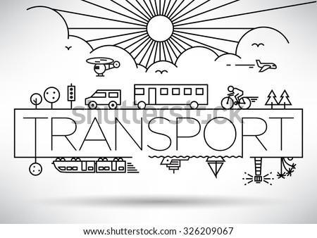 Transportation Vehicles Linear Vector Design - stock vector