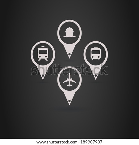 Transports Icons - White - stock vector