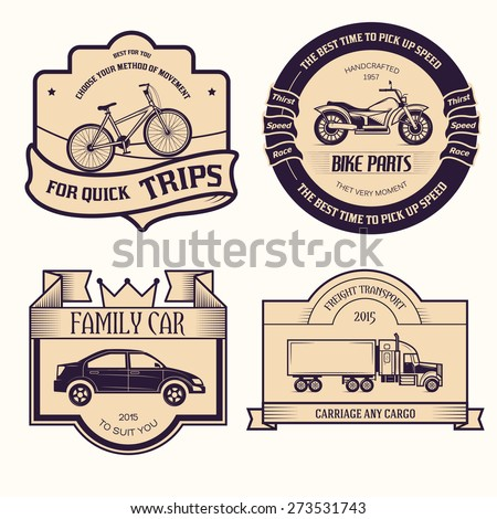 transports set retro label template of emblem element for your product or design, web and mobile applications with text. Vector illustration with thin lines isolated icons on stamp symbol.  - stock vector