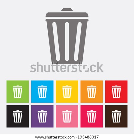 Trash bin icons set - Vector - stock vector