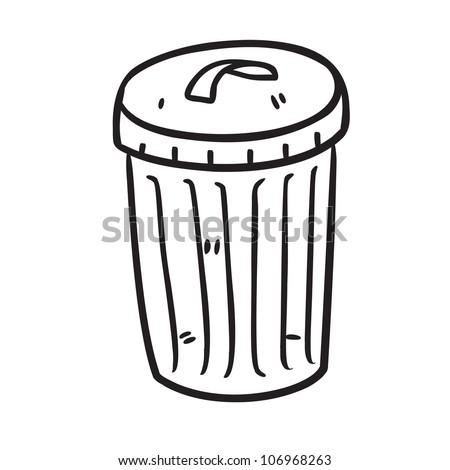 trash bin in doodle style - stock vector