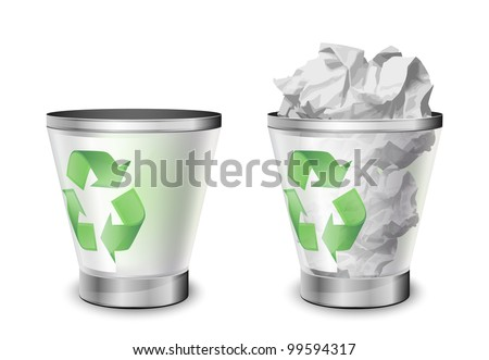 Trash bins, full and empty. Vector illustration - stock vector