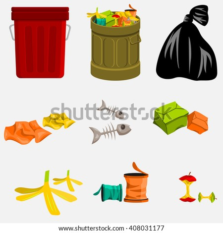 Trash Can and Garbage - stock vector
