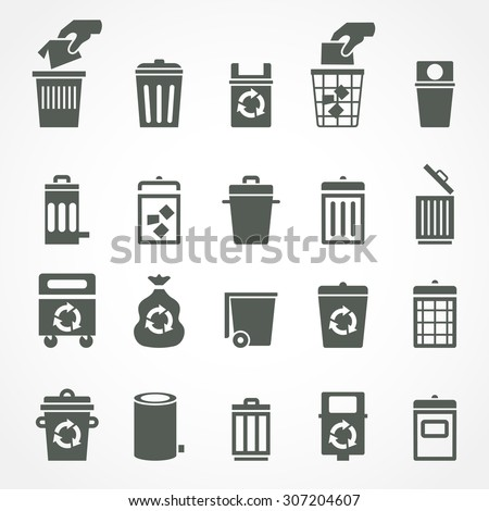 Trash can and recycle bin icons. Garbage and rubbish, clean and waste, dustbin and junk, container trashcan and basket. Vector illustration - stock vector