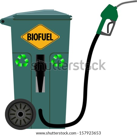 Trash can as a pump for bio fuels - stock vector