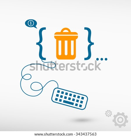 Trash can icon  and flat design elements. Design concept icons for application development, web design, creative process. - stock vector