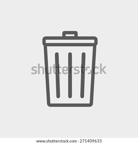 Trash can icon thin line for web and mobile, modern minimalistic flat design. Vector dark grey icon on light grey background. - stock vector