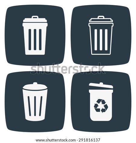 Trash Can Icons - stock vector