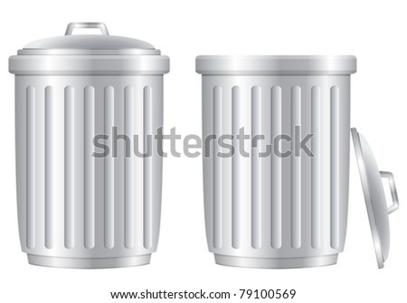 Trash can set on white background. Vector illustration. - stock vector