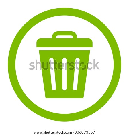 Trash Can vector icon. This rounded flat symbol is drawn with eco green color on a white background. - stock vector