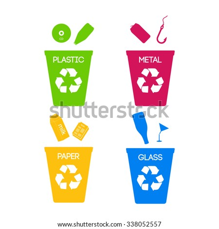 Trash categories. Recycle garbage bins. Separation concept. Set waste: plastic,   glass, metal, paper. Environment protection. Caring for the environment. Share on color - stock vector