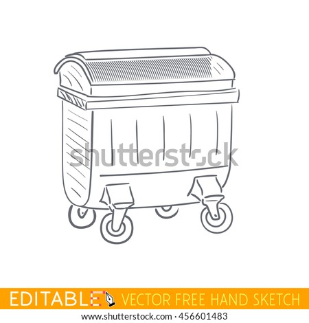 Trash container. Editable vector icon in linear style. - stock vector