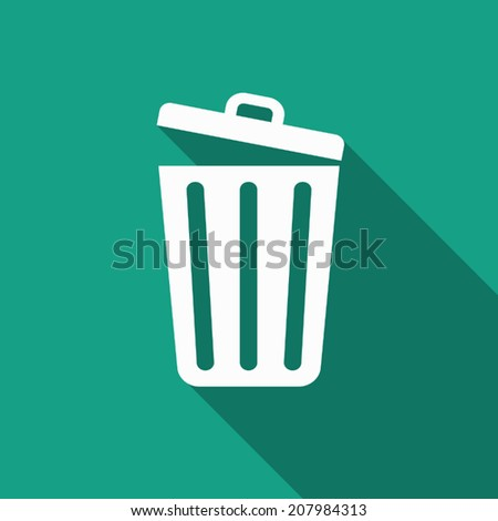 trash icon with long shadow - stock vector