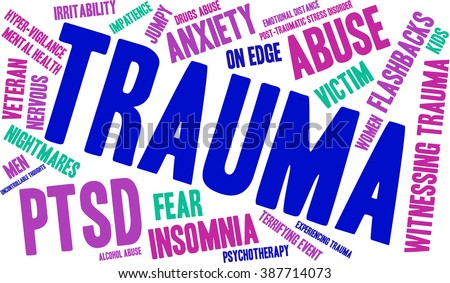 Trauma word cloud on a white background.  - stock vector