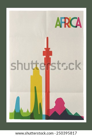 Travel Africa famous landmarks skyline on vintage paper sheet poster design background. Vector organized in layers for easy create your own postcard, brochure or marketing campaign. - stock vector