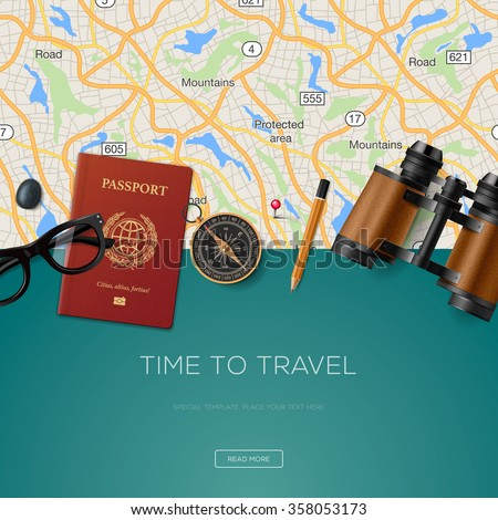 Travel and adventure template, time to travel, banner for tourism website, vector illustration. - stock vector