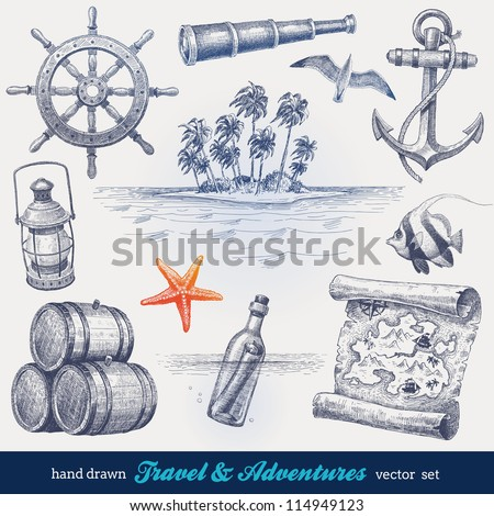 Travel and adventures hand drawn vector set - stock vector