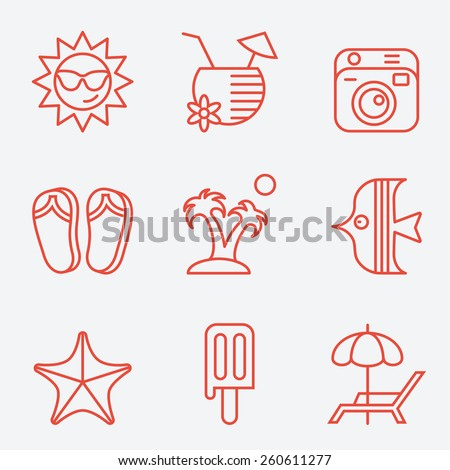 Travel and beach icons, thin line style, flat design - stock vector