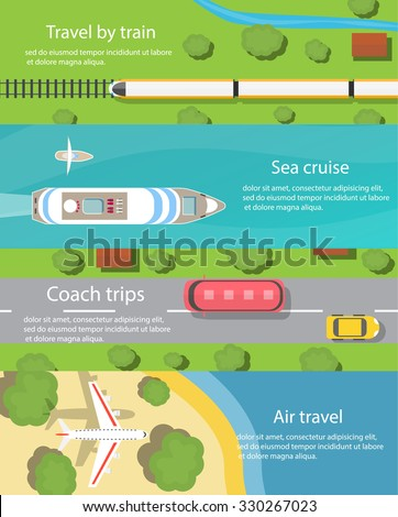 Travel and delivery horizontal banners set with ship, car, bus, plane, train,  top view. Transport and transportation, cargo and logistics, vector illustration - stock vector