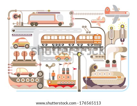Travel and Journey - vector illustration. Mode of transport. - stock vector