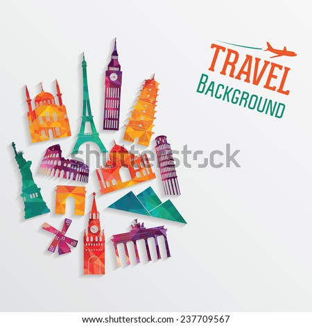Travel and tourism background. Vector illustration - stock vector