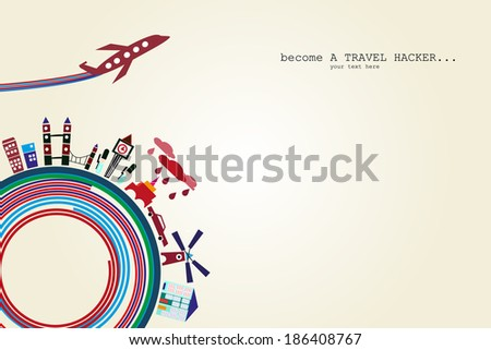 Travel and tourism concept vector background - stock vector