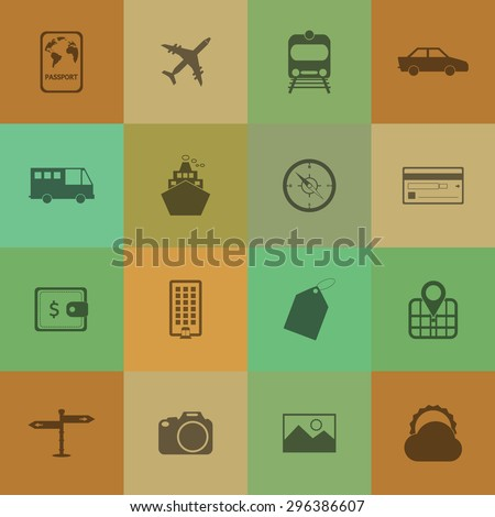 Travel and tourism icon set on retro colour background. - stock vector