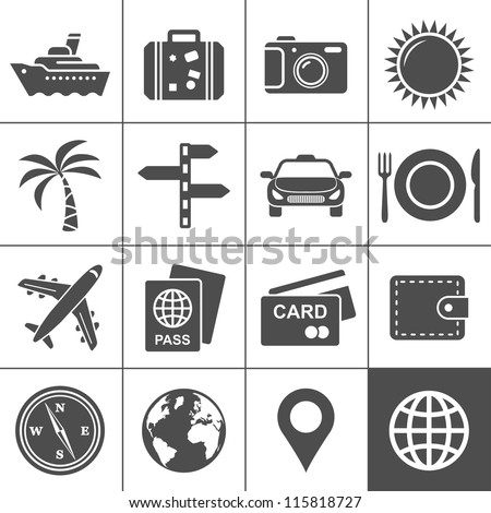 Travel and tourism icon set. Simplus series. Each icon is a single object (compound path) - stock vector