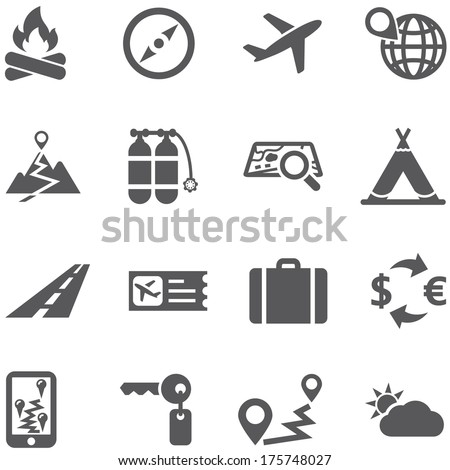 Travel and tourism icon set vector. All elements are on separate layers. Possible to easily change the colors and size without losing image quality. - stock vector