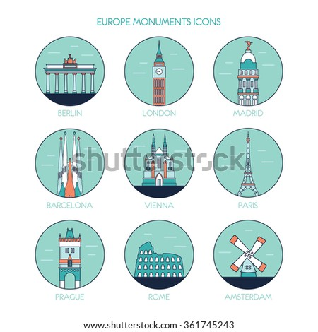Travel and tourism icons set. Europe line icons. Vector line illustration - stock vector