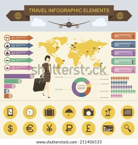 Travel And Tourism Infographics With Data Icons, Elements - stock vector