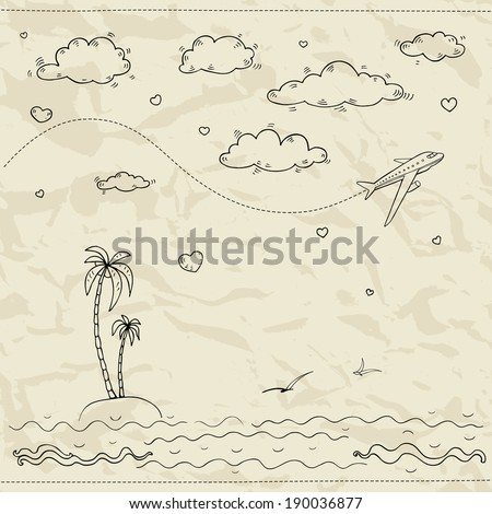 Travel and tourism labels collection. Vector hand drawn illustration. - stock vector