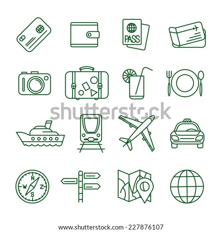 Travel and tourism  thin line vector icon set (2) - stock vector