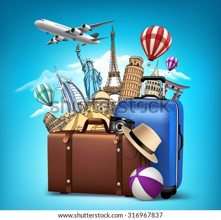 Travel and Tourism with Famous World Landmarks in 3d Realistic and Drawing Elements. Vector Illustration  - stock vector