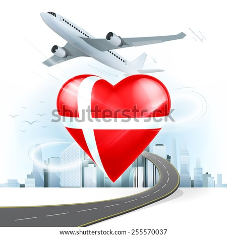 travel and transport concept with Denmark flag on heart vector illustration with cityscape background - stock vector