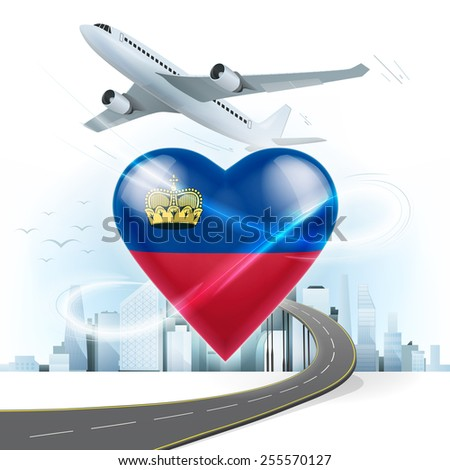 travel and transport concept with Liechtenstein flag on heart vector illustration with cityscape background - stock vector