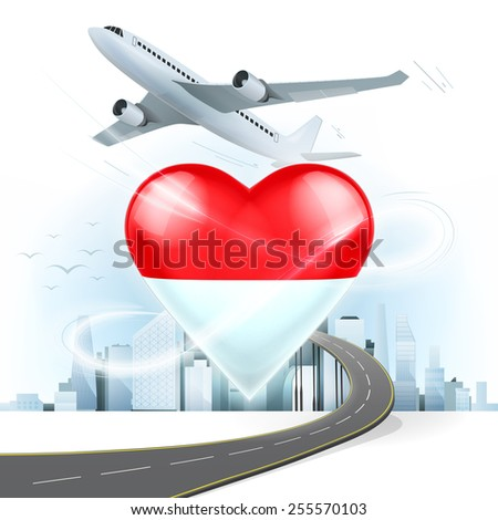 travel and transport concept with Monaco flag on heart vector illustration with cityscape background - stock vector