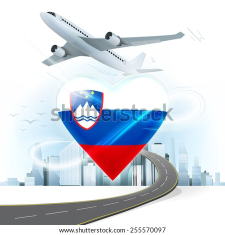 travel and transport concept with Slovenia flag on heart vector illustration with cityscape background - stock vector