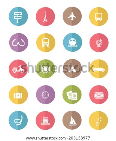 Travel and transport icon set,color vector - stock vector