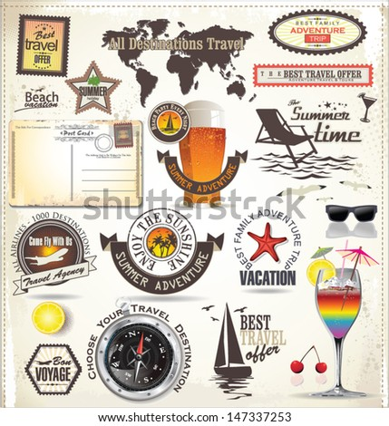 Travel and vacation emblems, symbols and labels - stock vector