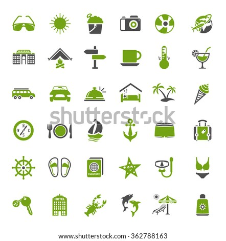 Travel and vacation icons set - stock vector
