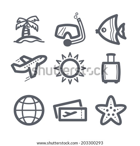 Travel and vacation Icons set Illustration set // 02 - stock vector