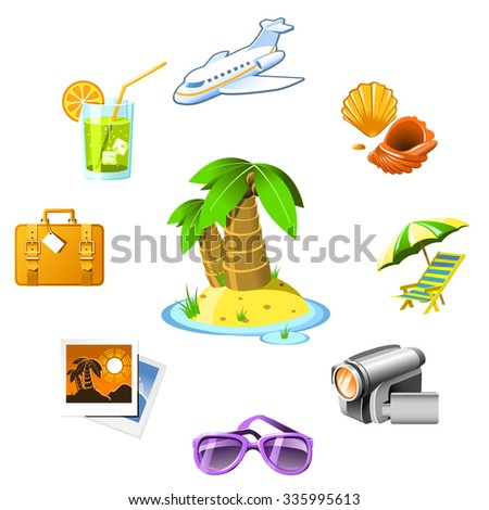 Travel and vacation resort icons - stock vector