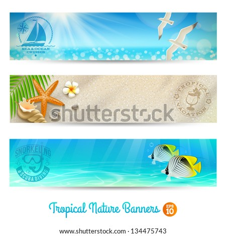 Travel and vacation vector banners with tropical natures - stock vector
