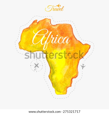 Travel around the  world. Africa. Watercolor map - stock vector
