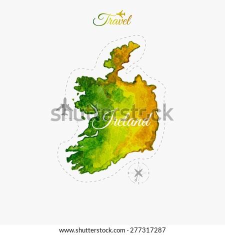 Travel around the  world. Ireland. Watercolor map - stock vector