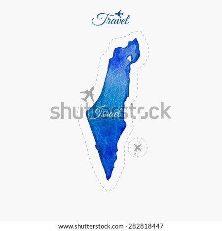 Travel around the  world. Israel. Watercolor map - stock vector