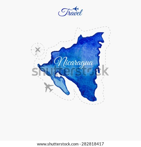 Travel around the  world. Nicaragua. Watercolor map - stock vector