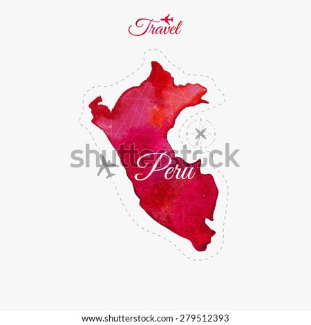 Travel around the  world. Peru. Watercolor map - stock vector