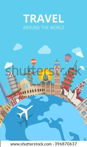Travel around the world sightseeing template flyer flat style web vector. Globe plane popular city capital sight landmark around Big Ben Kremlin Buddha Colosseum Pagoda Jesus Redeemer  - stock vector